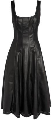 STAUD Vegan Leather Wells Midi Dress