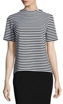 Lafayette 148 New York Stand-Collar Striped Short-Sleeve Top, Black