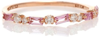 Suzanne Kalan 18kt Rose Gold Ring With Pink Sapphires And Diamonds