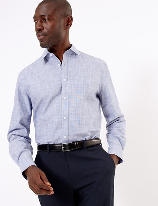 Marks and Spencer Tailored Fit Pure Cotton Easy Iron Shirt