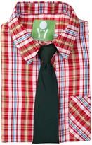 Future Trillionaire Plaid Long Sleeve Shirt & Solid Tie (Toddler, Little Boys, & Big Boys)