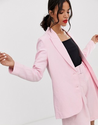 And other stories & oversized linen blend blazer co-ord in pink