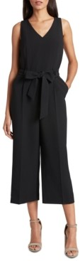 Tahari ASL Belted Sleeveless Cropped Jumpsuit