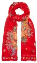 Alexander McQueen Island Bouquet-print silk-chiffon scarf