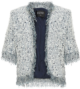 Balmain Studded Cotton-blend Tweed Bolero