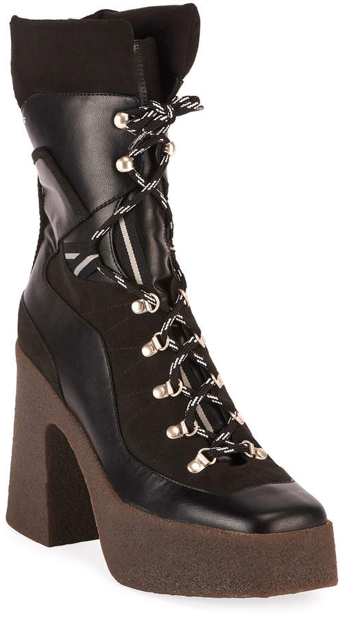 69e9757425a Chunky Gum-Heel Lace-Up Boots