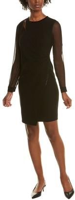 Elie Tahari Bryndal Leather-Trim Shift Dress