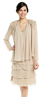 SL Fashions S.L. Fashions Lace Tiered Jacket Dress
