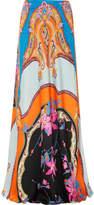 Etro Floral-print Satin Maxi Skirt - Blue
