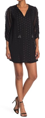 NSR Metallic Dot Ruched Sleeve Shift Dress