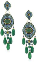 Miguel Ases Blue Gold Stone and Green Onyx 5-Drop Earrings