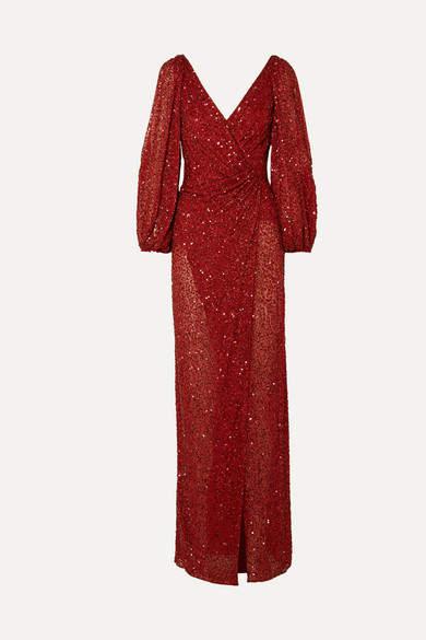Jenny Packham Ida Gathered Embellished Georgette Gown - Claret