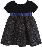 Andy & Evan Velvet And Tweed Dress (Baby) - Navy-12-18 Months