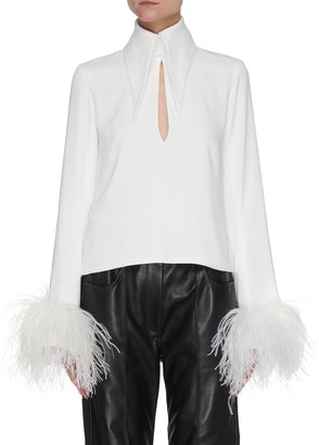 16Arlington 'Michelle' ostrich feather cuff crepe top