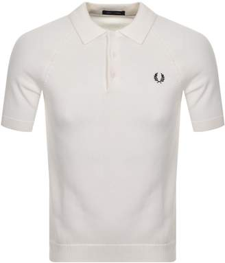 Fred Perry Textured Knit Polo T Shirt White