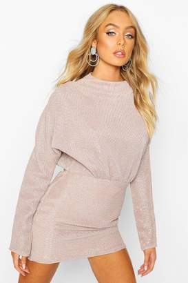 boohoo Glitter Pleated Batwing Bodycon Dress