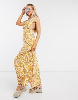 ASOS DESIGN plunge tie shoulder maxi dress in mustard ditsy floral print