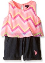 U.S. Polo Assn. Baby Chevron Print Chiffon Flounce Top and Denim Romper, Neon Pink