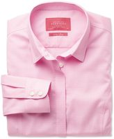 Charles Tyrwhitt Women's semi-fitted non-iron cotton puppytooth pink shirt