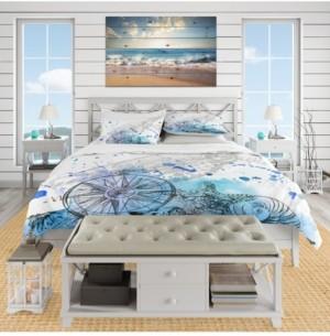 Design Art Designart 'Marine Creatures Illustration' Beach Duvet Cover Set - Queen Bedding