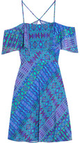 Matthew Williamson Off-the-shoulder Printed Silk Crepe De Chine Mini Dress - Cobalt blue