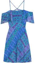 Matthew Williamson Off-the-shoulder Printed Silk Crepe De Chine Mini Dress - Cobalt blue