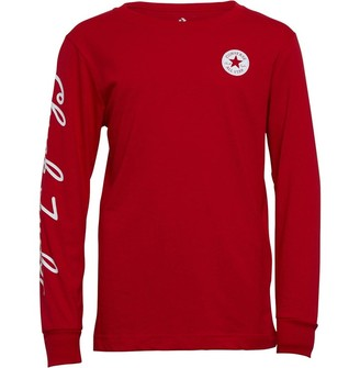 Converse Junior Boys Chuck Taylor Script Long Sleeve T-Shirt Enamel Red