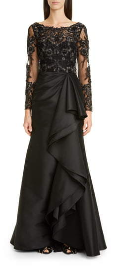 Badgley Mischka Couture Long Sleeve Embellished Lace & Satin Gown