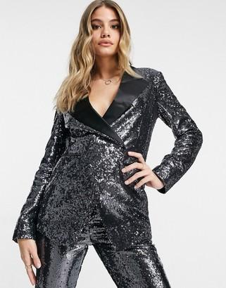 ASOS DESIGN suit blazer in silver sequin and contrast collar