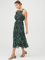 Whistles Forest Floral Halter Midi Dress - Blue/Multi