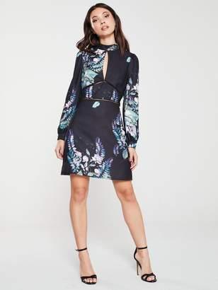 Little Mistress Floral Long Sleeve Shift Dress - Multi
