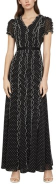 BCBGMAXAZRIA Swiss-Dot Ruffled Maxi Dress