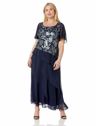 Brianna Women's Plus Size Sequin Embroidered Top Tiered Gown