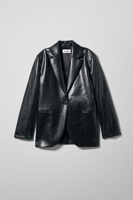 Weekday Rumi Croco Blazer - Black