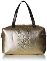 Orla Kiely Embossed Flower Stem Leather Zip Shopper