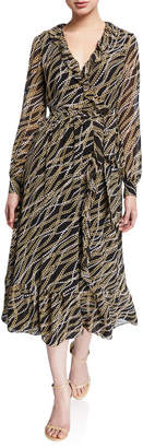 MICHAEL Michael Kors Chain Link Printed Long Sleeve Ruffle Trim Midi Wrap Dress