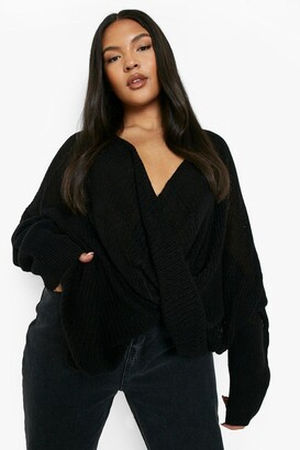 boohoo Plus Wrap Front Knitted Sweater