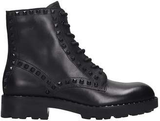 Ash Wolf Combat Boots In Black Leather