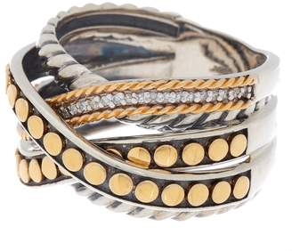 Effy 18K Gold & Sterling Silver Layered Crystal Ring - Size 7
