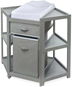 Harriet Bee Defranco Changing Table with Pad and with Basket and with Hamper Color: Gray
