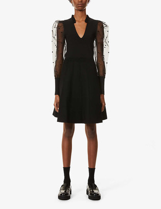 Sandro Elyna puff-shoulders knitted mini dress