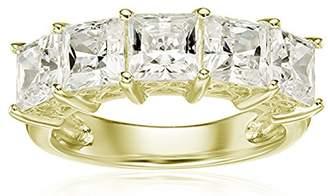 Swarovski La Lumiere Yellow gold- Plated Sterling Silver Zirconia 3 cttw Princess Cut 5 Stone Ring N1/2