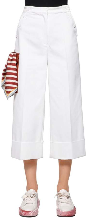 Marco De Vincenzo Cotton Drill Wide Leg Pants W/ Scarf