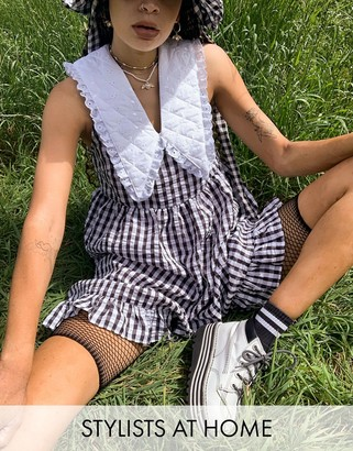 Vintage Supply relaxed smock dress with quilted collar in gingham