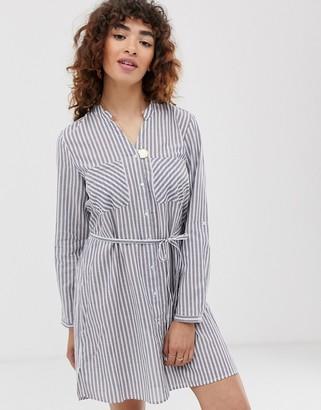 Only tie waist shirt dress-Grey