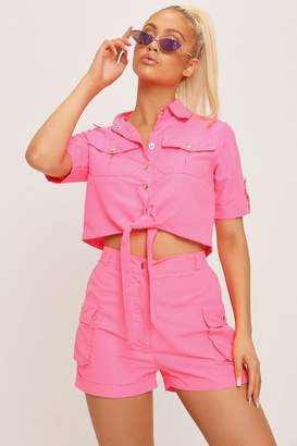 I SAW IT FIRST Neon Pink Utility Pocket High Waisted Cargo Shorts