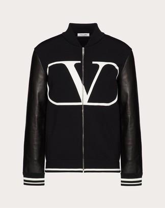 Valentino Vlogo Varsity Jacket Man Black/ivory Viscose 83%, Polyester 17% L