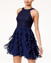 Speechless Juniors' Glitter Lace Ruffled Fit and Flare Dress