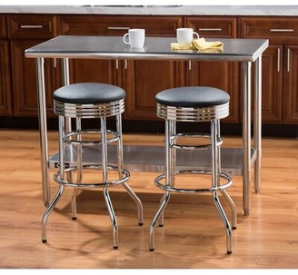 "Brayden Studio Mcguire Swivel 30"" Bar Stool Color: Chrome, Pack Size: 2"