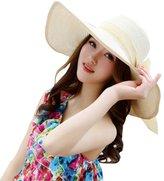 SHINA Women Ribbon Derby Hat Floppy Wide Brim Hat Large Beach Hat UV Sun Hat